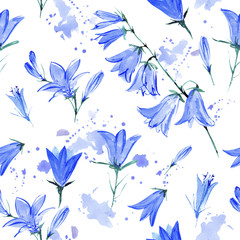 Bluebell flowers.Seamless pattern.Watercolor hand drawn illustration.White background.