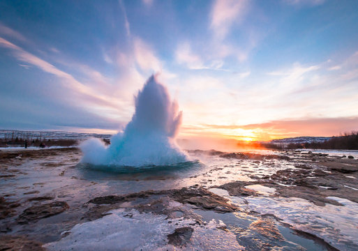 Geyser Strokkur in Iceland, eruption