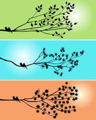 Black shadow bird and tree branch 3 season style