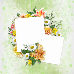 Background with beautiful flowers and frames with space for photo or text