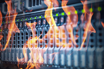 Disaster in data center room server and storage on fire burning Fotomurales
