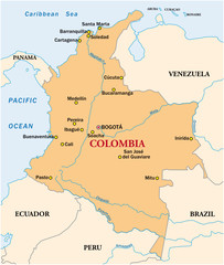 simple vector map of the state colombia
