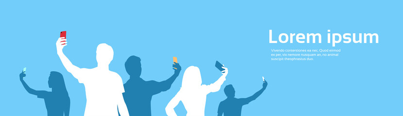 People Group Silhouette Taking Selfie Photo On Cell Smart Phone Banner Copy Space