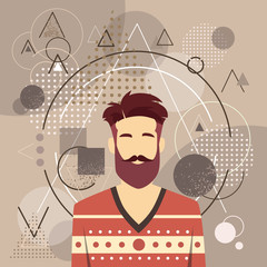 Profile Icon Male Avatar Man Hipster Style Fashion Guy Beard Portrait Casual Person Silhouette Face