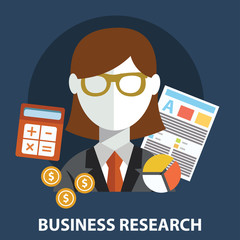 Business research flat modern design concept.