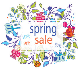 congratulation,contour, line, colorful spring background with card discount flowers bright, vector background for business