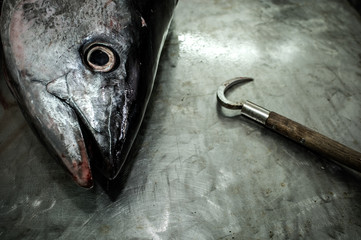 Raw fish and hook