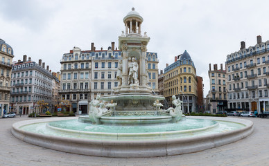 The water fountain on Jacobin's square in Lyon, France
