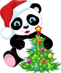 Panda and Christmas Tree