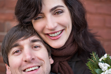 Happy lovers on a date, selfie