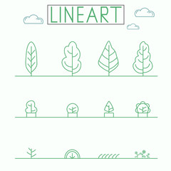 Graphical lineart style icon set. Urban Planths and Trees.
