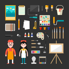 Set of Vector Icons and Illustrations in Flat Design Style. Male and Female Cartoon Characters Painter Surrounded by Painting Tools and Appliances. Painter Concept