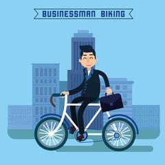Businessman Biking. Businessman Riding a Bicycle. Modern Lifestyle