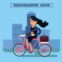 Businesswoman Biking. Businesswoman Riding a Bicycle. Modern Lifestyle