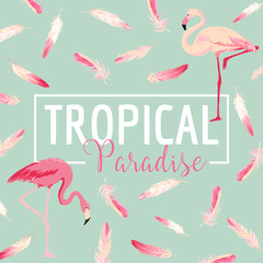 Tropical Bird. Flamingo Background. Summer Design. Vector. T-shirt Design