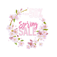 Spring Sale Banner. Sale background. Big sale. Floral Sale Tag.