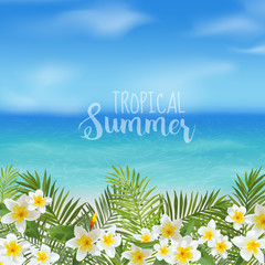 Tropical Background. Palm Leaves. Sea View Background.