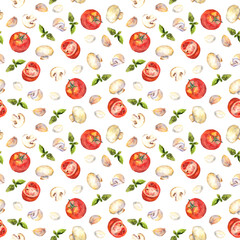 Watercolor painted seamless backdrop with tomatoes, mushrooms, garlic and basil