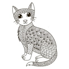 Zentangle cat for coloring page, shirt design, logo, tattoo and decoration