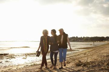 Female family members walking on beach