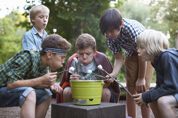 Group of young boys toasting marshmallows over bucket barbecue