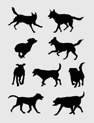 Dog Running Silhouettes, art vector design