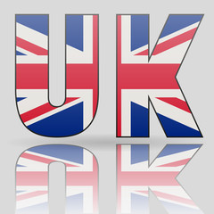 3D UK word with British flag