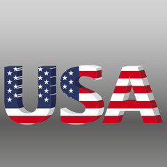 3D USA word with American flag