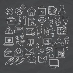 Set of doodle web, computer and drawing icons.