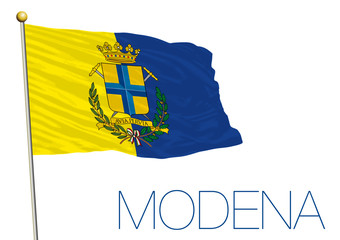 modena city flag with coat of arms, italy