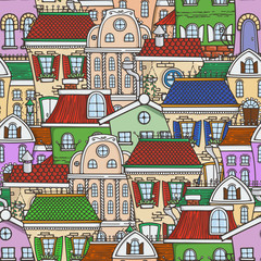 Cute seamless pattern of doodle houses.