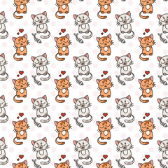 Seamless pattern of cute cat characters. Pet in love. Fishbone.