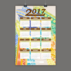 Zentangle colorful calendar 2017 hand painted in the style of floral patterns and doodle.
