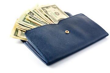 Blue leather wallet with money, isolated on white
