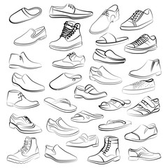 Vector set of men shoes painted lines in minimalist style