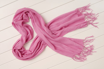 pink cotton scarf with fringe