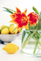 A bouquet of red tulips and bowl of lemons on white table.