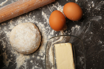 Fresh made dough, close up