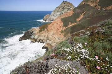 Devil's Slide sheer cliffs, coastal promontory, San Mateo County, California