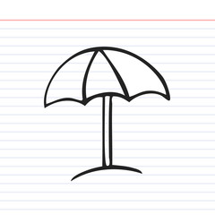 Beach umbrella doodle icon with paper background