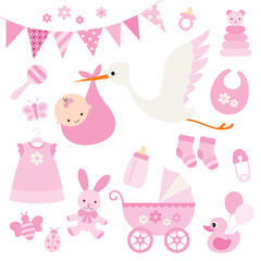 Vector illustration for baby girl shower and baby items.