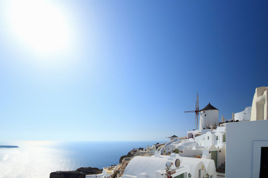 View of Oia town and windmill, Santorini, Cyclades Islands, Greece