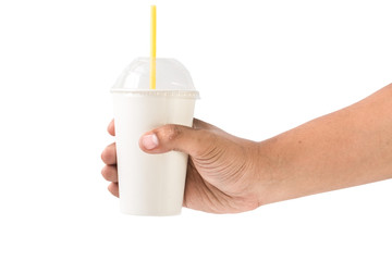 Man holding a paper cup with tube isolated over white background