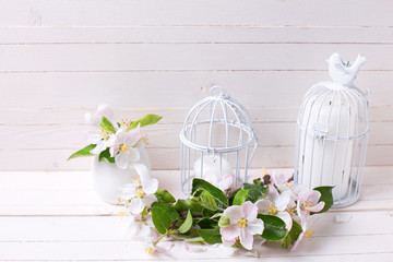 Apple blossom and candles in decorative bird cages on white pain