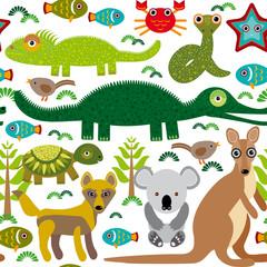 Animals Australia: snake, turtle, crocodile, alligator, kangaroo, dingo. Seamless pattern on a white background.