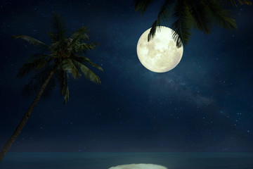 Wall Mural - Beautiful tropical beach with Milky Way star in night skies, full moon - Retro style artwork with vintage color tone(Elements of this moon image furnished by NASA)