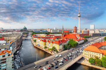 Aerial view of Berlin skyline and Spree river in summer, Germany