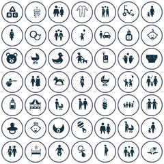Set of forty nine family icon