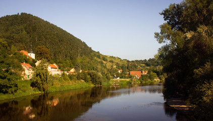 Beautiful landscape on Berounk's river in the town of Karlstein the Czech republic