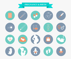 Medicine and pregnancy vector icons set